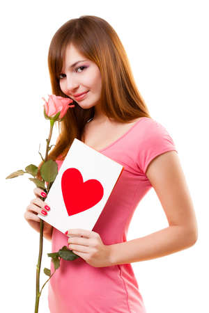 beautiful woman with card and rose flower over white Stock Photo - 8671557