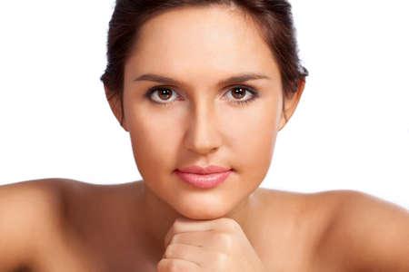 beautiful woman closeup portrait over white photo