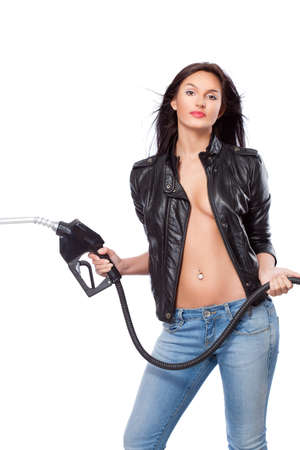 body pump: beautiful sexual  woman portrait with nozzle
