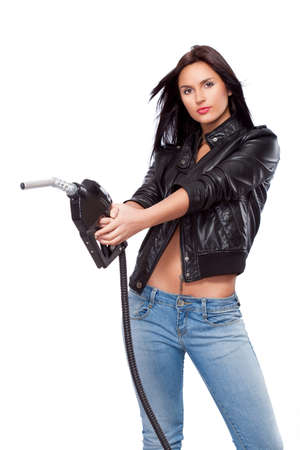beautiful sexual  woman portrait with nozzle photo