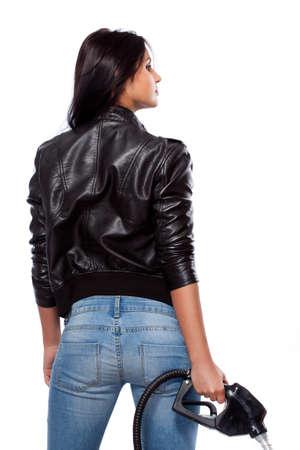 sexy jeans: Retrato de hermosa mujer sexual con boquilla Foto de archivo