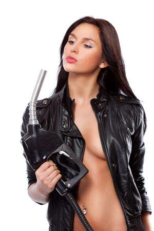chaqueta de cuero: Retrato de hermosa mujer sexual con boquilla Foto de archivo