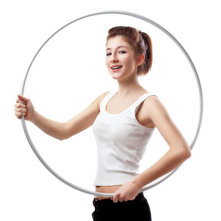 young woman with hoop over white