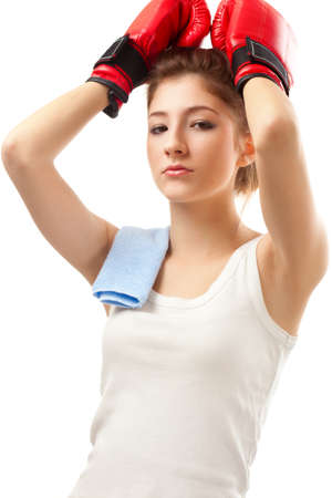 young woman wearing red boxer gloves photo