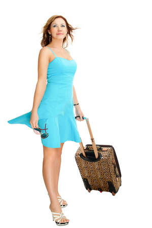 woman with travel suitcase isolated on white photo