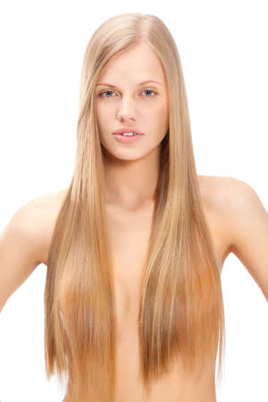 portrait of beautiful  woman with long straight blond hair over white photo