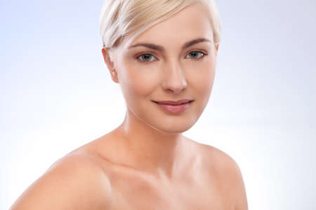 beautiful woman portrait over blue white