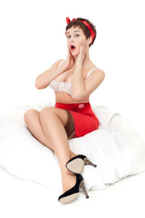 pinup style attractive woman portrait over white Stock Photo - 9361540