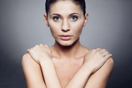 beautiful woman closeup  studio portrait, gradient background Stock Photo - 10333623