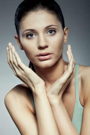 beautiful dark hair woman closeup studio portrait Stock Photo - 10333626