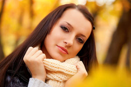 autmn: closeup woman portrait in autmn park Stock Photo