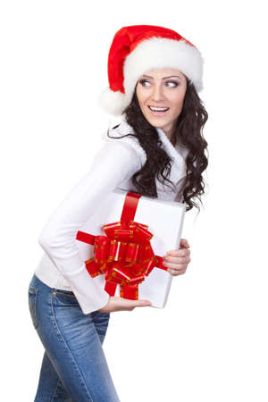 woman with gift box looking around over white background photo