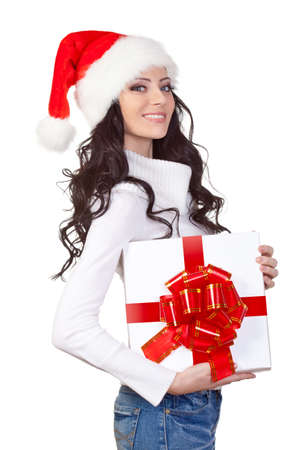 woman with gift box looking at camera over white background