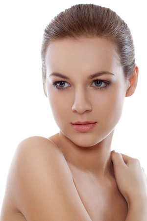 beautyful closeup  woman face and shoulder over white Stock Photo - 11478326