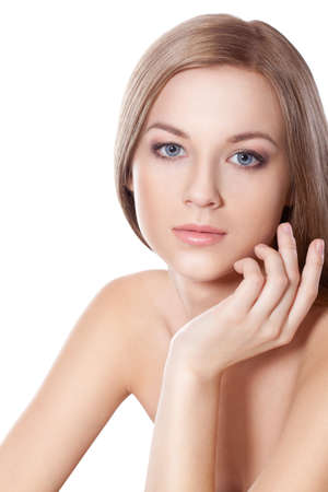 beautyful blond-brown woman face with hand over white photo