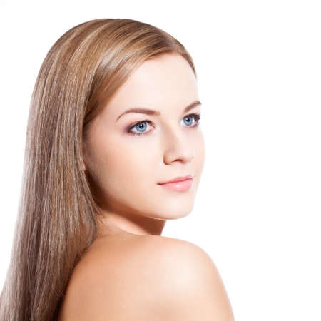 beautiful woman face over white background