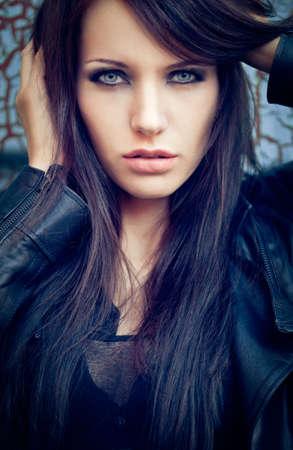 closeup beautiful brunette portrait. Specially toned fashion photo photo