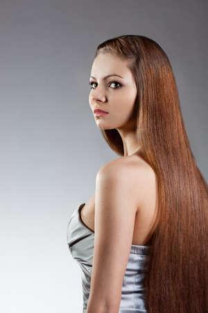 woman studio porrait with long hair Stock Photo