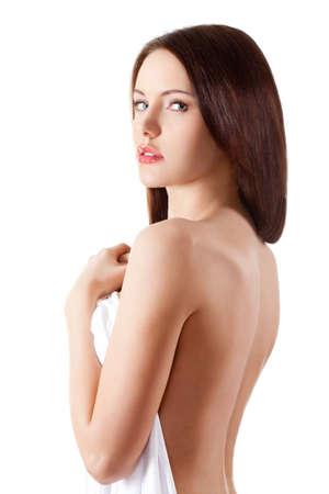 nude woman back: beautiful brunette portrait with white sheet