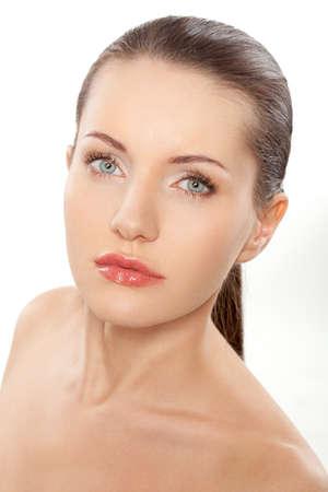 beautitful woman closeup face portrait over white Stock Photo - 12499050