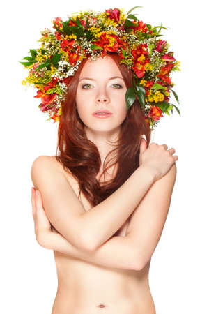 red haired woman with flower wreath over white photo