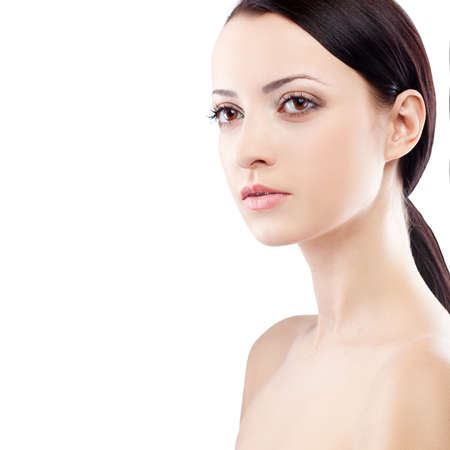 beautiful woman closeup portrait over white with copy space