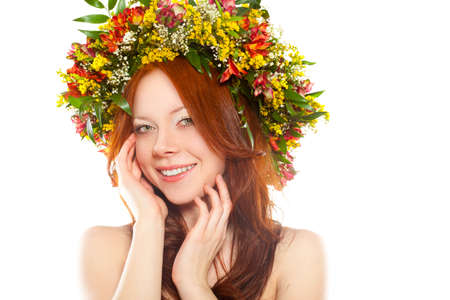 red haired: red haired joyful woman with flower wreath on head over white
