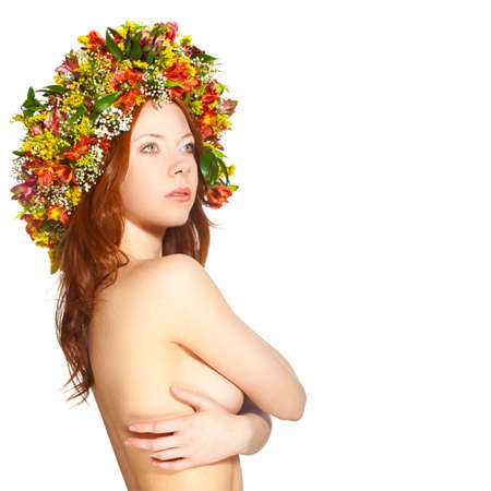 red haired woman: red haired woman with flower wreath on head over white