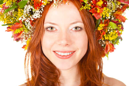 red haired woman: red haired woman closeup smiling face portrait with shallow dof