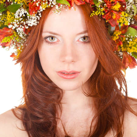 red haired woman: red haired woman closeup face portrait with shallow dof  Stock Photo