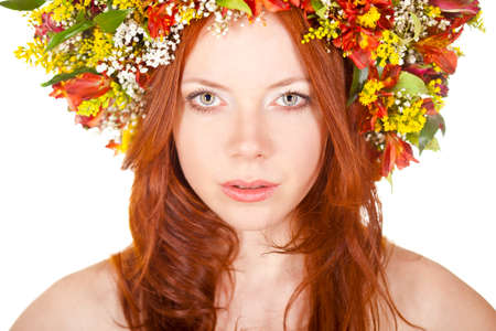 red haired: red haired woman closeup face portrait with shallow dof  Stock Photo