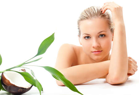 beautiful blond girl portrait with perfect skin, spa and cosmetics theme