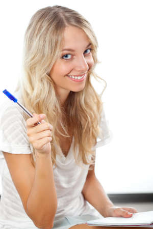 blonde females: blonde happy  woman holding pen and notepad