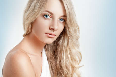 beautiful blondbeautiful blonde woman closeup face portrait, copy space for text
