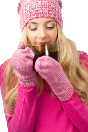 lovely blonde woman holding cup of drink over white photo