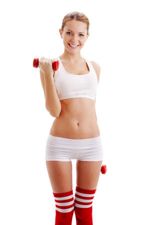 beautiful brunette  woman holding red dumbbells over white photo