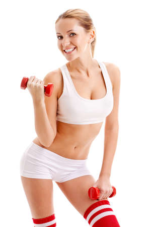 beautiful woman holding red dumbbells over white photo