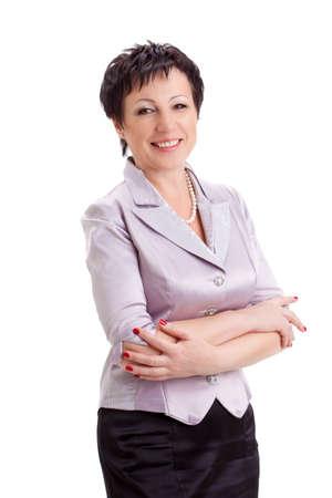 Porträt von erwachsenen lächelnden Geschäftsfrau über weißem Hintergrund