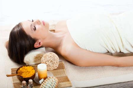 beautiful woman receiving spa procedures photo