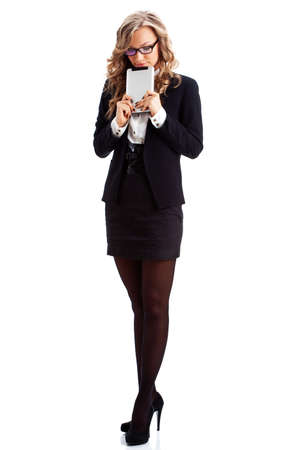 full lenght: businesswoman full lenght isolated portrait with tablet Stock Photo