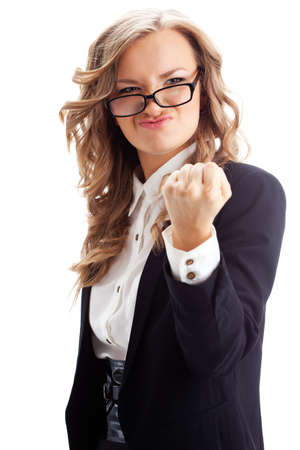 businesswoman showing fist over white background Stock Photo