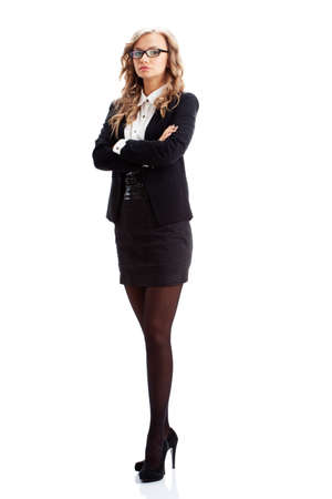 blonde businesswoman portrait over white background photo