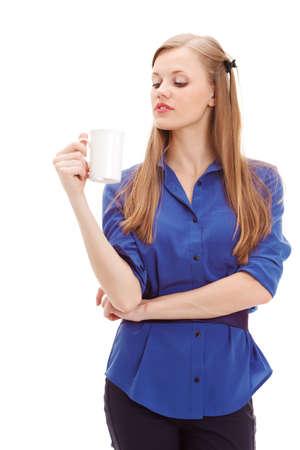 beautiful blond holding white mug over white background photo