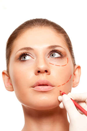 closeup woman face with surgery marks on face Stock Photo - 18387411