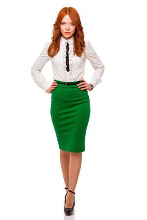 businesswoman wearing green skirt , full length isolated over white Stock Photo