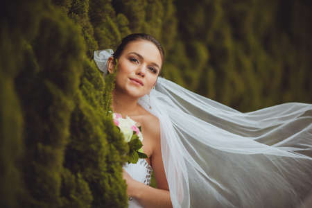 beautiful bride closeup portrait over green trees outdoor photo