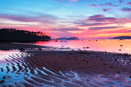 beautiful sunrise at the tropical andaman sea photo