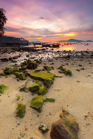 beautiful sunrise at the tropical andaman sea photo
