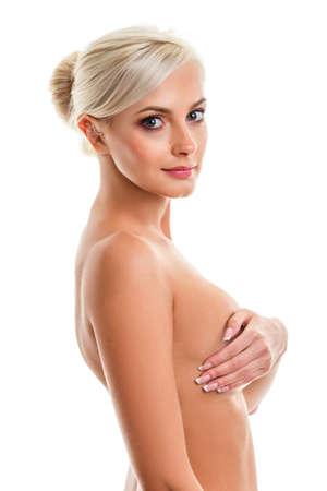 nude blonde woman: closeup Fashion photo of beautiful nude blonde  woman, looking at camera