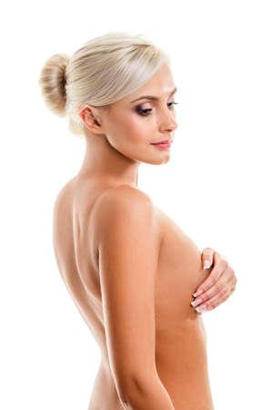 nude blonde woman: Fashion photo of beautiful nude blonde  woman, looking down